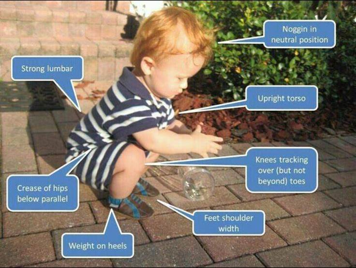 """Baby squatting, perfect balance"""